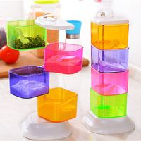 High-quality 360-degree rotating jars salt seasoning box ABS plastic cruet set for spices holder kitchen accessories