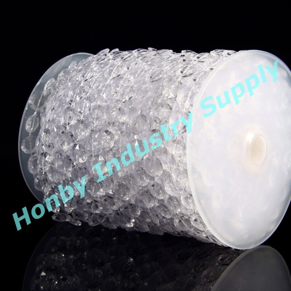 10mm Plastic Crystal Clear Beads String for Chandelier Curtains