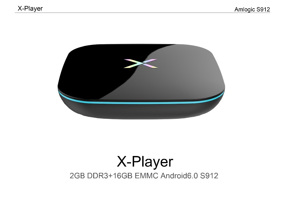 2017 Newest X-box 2GB RAM android6.0 OS wireless tv box Kodi 17.0 4K HD amlogic S912 octa core tv box X-player
