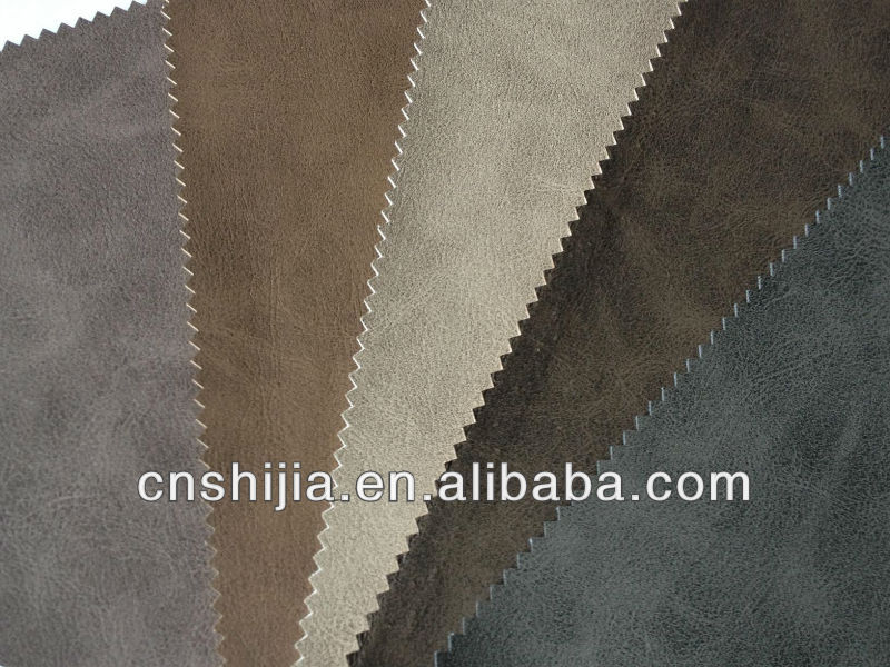 2014 new quality synthetic PU leather for sofa-wax treatment quality