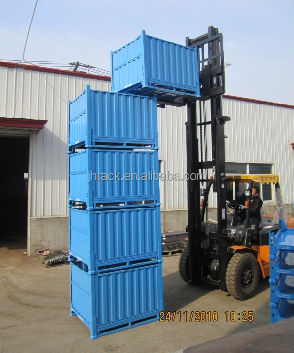 High quality foldable and stackable warehouse steel storage crate