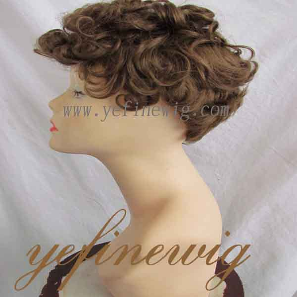 Top Quality Mongolian Hair Brown Men's Short Curly Wigs