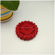 factory customized non-woven,felt fabric cutting glass,bottle round red coaster for home hotel and wedding drink