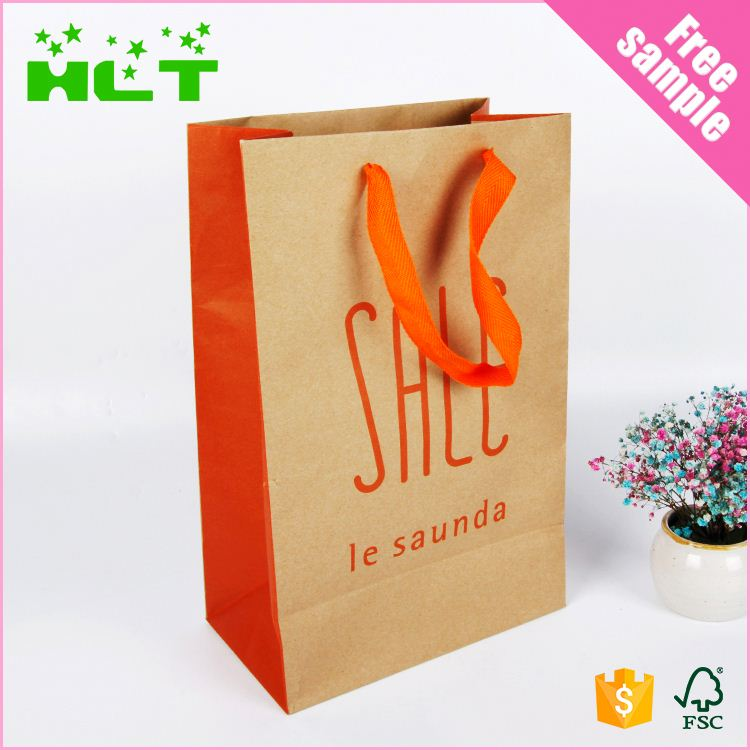 China supplier kraft brown custom made paper bags with handles wholesale