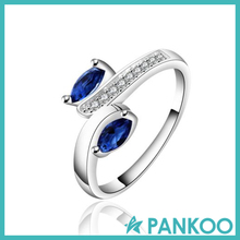 Sterling silver curve exquisite sapphire jewelry ring