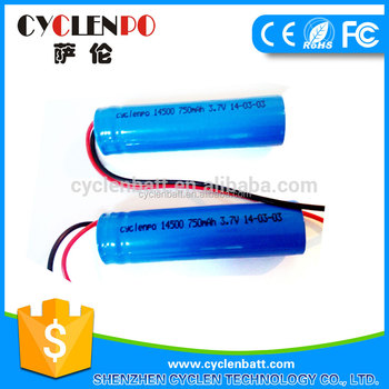 750mAh 3.7v icr 14500 battery with wire China manufacturer