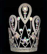 12 Inch Big Beauty Custom Pageant Crown AB Stone Large Tall King Tiara