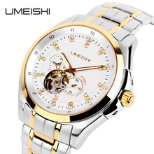 Top Quality Stainless Steel Back Water Resistant UMEISHI Skeleton Automatic Mechanical Watch for Men