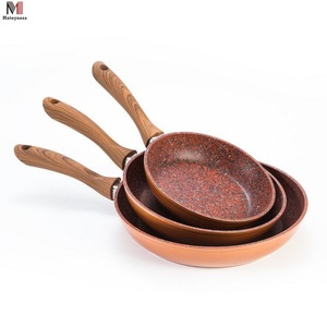 Copper Stone Marble Coating Non-Stick Fry Pan With Wooden Handle