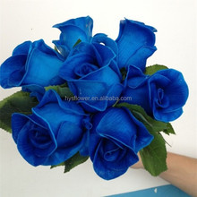 artificial Wedding decorations latex 6 head rose bud bouquet royal blue rose flower