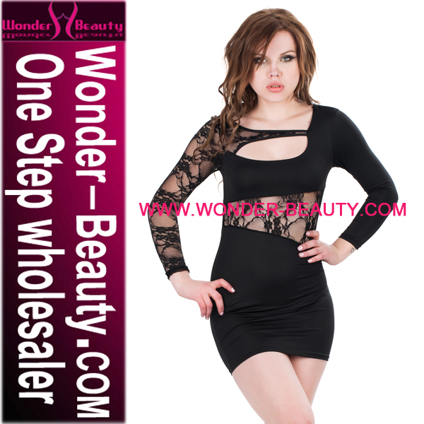 New Arrival Sheer Lace Design Hollow Out Black Lace Patchwork Dress, Sexy Ladies Night Club Wear