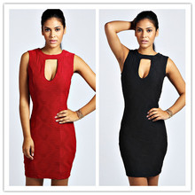 Hot Wholesale Women Clothing Textured Keyhole Bodycon Dress