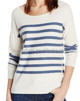 100% Light Women White&Blue Stripe Cashmere Sweater