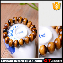 2017 New Brand Tiger Eye Buddha Bangles Trendy Natural Stone Stretched Bead Bracelet