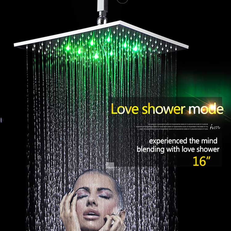 "jiagnmen santary ware rain shower 16"" hydro power led rain bath shower"