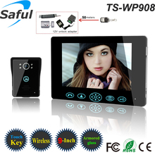 Saful TS-WP708 High-strength tempering glass 220v Power and Color Camera Wireless video door phone kit