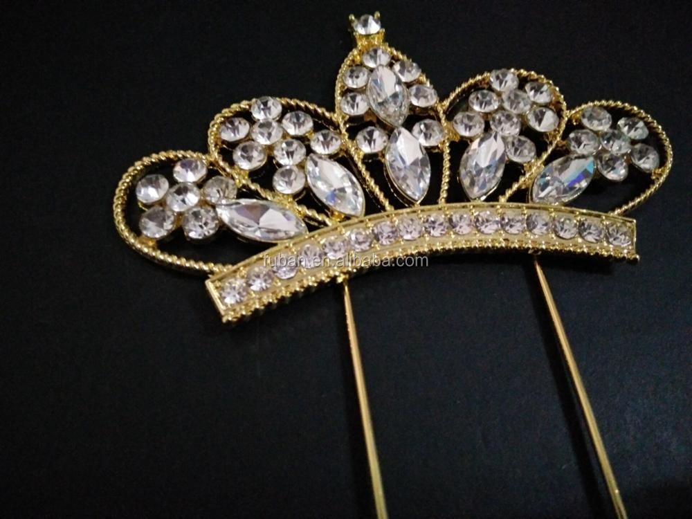 Wholesale party cake decorating supplies gold Crown rhinestone Cake Topper