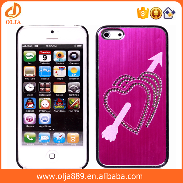 Hot selling heart shape brushed metal mobile phone case for iphone 5 phone cover