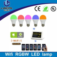 Langma indoor use touch screen 4-zone 2.4g rf remote controller led rgbw wifi lights 6w e27 led zigbee wifi bulbs rgb led lamp