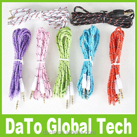 Free Shipping 1M 3FT 3.5mm Male to Male Braided Fabric Audio AUX Cable