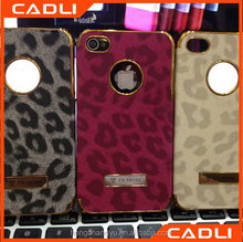 Electroplated Leopard PU Leather Mobile Smart phone case for iPhone 4