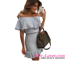 Sexy Young Girl Dress Very Cheap Blue Overlay Off Shoulder Mini Dress 2016