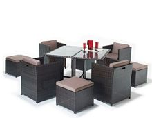 2017 Hot sale ultra modern latest designs plastic rattan model dining table set