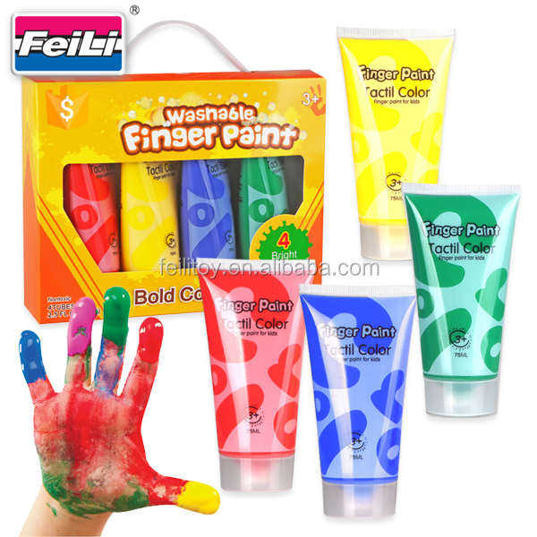 2017 hot selling 4pcs 75ml kids paint set finger painting pigment with EN71 finger paint