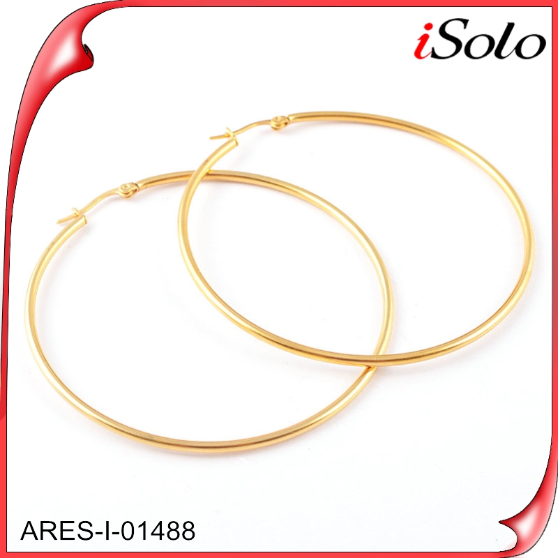 Costume jewelry 316l stainless steel gold jewelry big large hoops earings