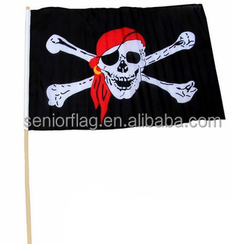custom handheld jolly roger flag, pirate flag with wooden stick