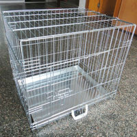 Folding Metal Wire Dog Cage with Metal Tray
