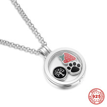 Wholesale Authentic 925 Sterling Silver Glass Floating Pendants Round Living Memory Floating Charms Locket Pendant Memories