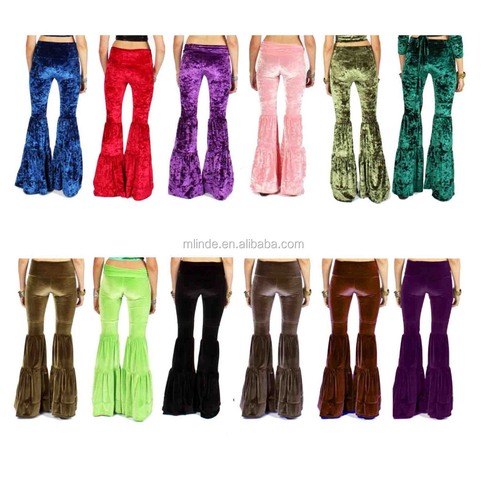 Stretch Velvet Yoga Pants women's Gypsy Festival Flares Bells Bottoms New Fashion Wholesale Yoga Ruffle Pants For Womens