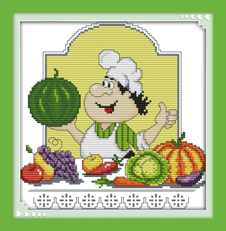 DMC Cross Stitch Kits For Embroidery Pattern 14CT 11CT Humor chef (1) Crafts DIY Needlework Knitting Needles K761