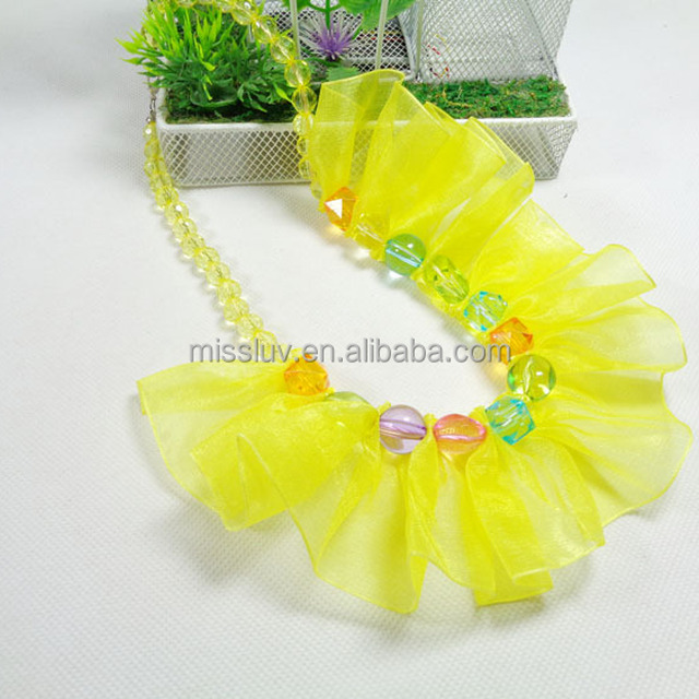 2016 candy color glass crystal bead necklaces girls fabric plastic bead necklace for kids