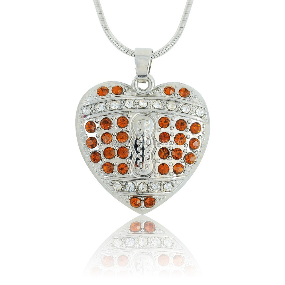 Unique Sports Alloy Silver Heart Shape Clear Brown Crystals American Football Pendant Necklace