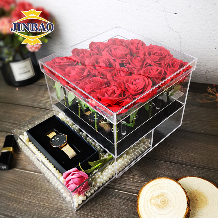 JINBAO Factory customized high quality clear square waterproof <strong>acrylic</strong> 9 Holes preserved rose gift flower box with one drawer