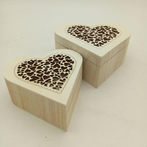 wooden box with laser heart shape box