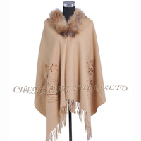 CX-B-P-44F Ladies Latest Design Wool Cashmere Fringed Pashmina Shawl With Genuine Raccoon Fur Collar