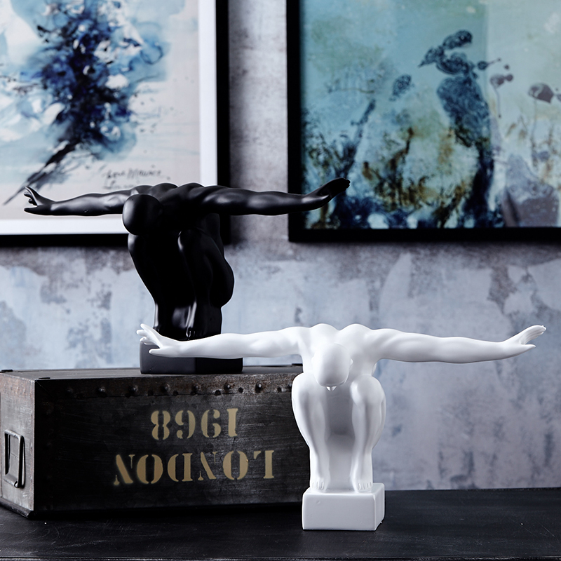 White &black modern diving man resin statue craft for home decor