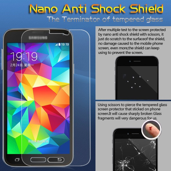 Nano anti-shock screen film for Samsung galaxy S5 anti-impact film terminator of tempered glass
