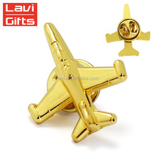 Top Sale Cheap Custom Gold Metal 3D Shape Airplane Lapel Pin Wholesale