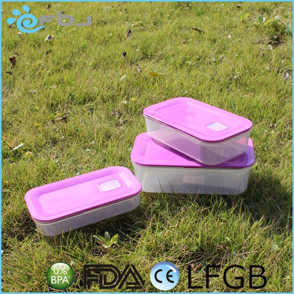 Purple Set 3 Stackable Plastic Food Storage Container