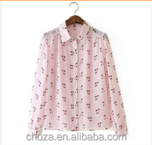 C12285A Wearable Design Chiffon Noble Cat Printing Women Blouse