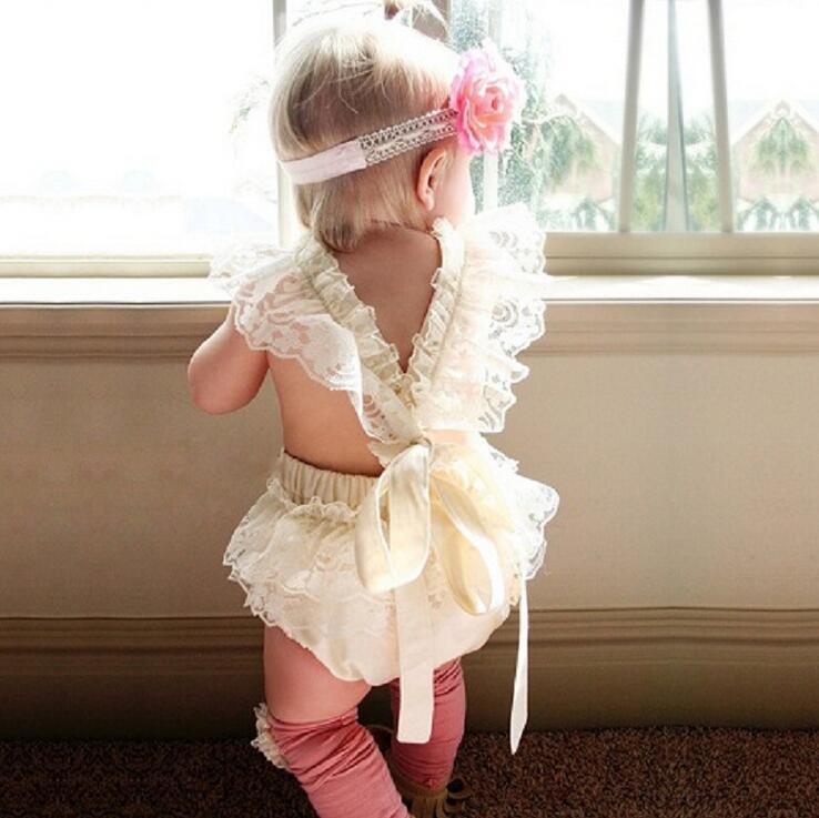 2017 Summer girl clothing rompers New sliders Deep ivory nylon lace straps newborn Bodysuit boutique ruffle cltohing