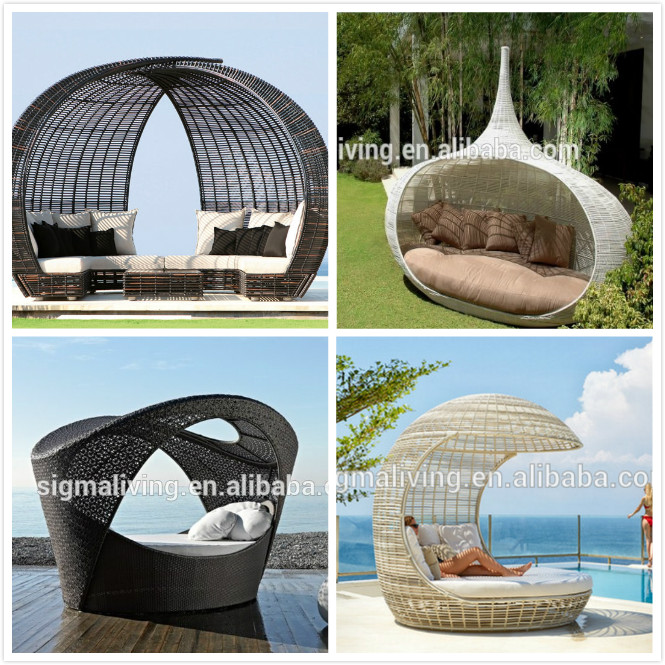 Latest Designs Wicker Daybed Outdoor Furniture Large Sun Bed Chaise Lounge Day Bed