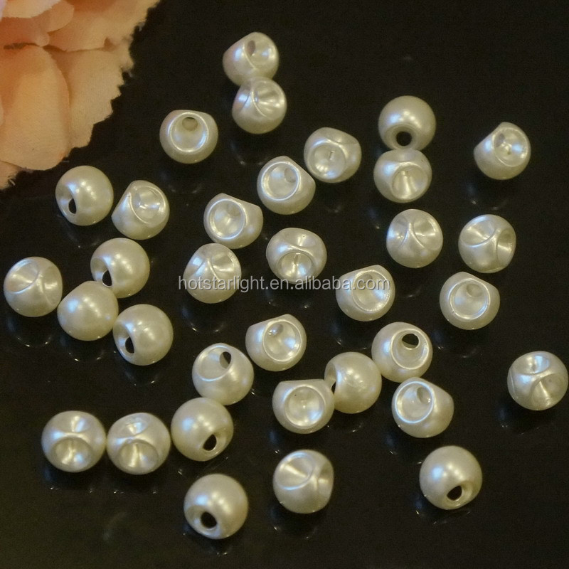 new arrvial 10mm hanging hole bell cream color ABS plastic pearl for hair accessories
