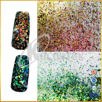 Irregular chameleon glass flakes for nail art, chameleon glass flakes supplier