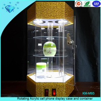 Rotating Acrylic cell phone display case and container