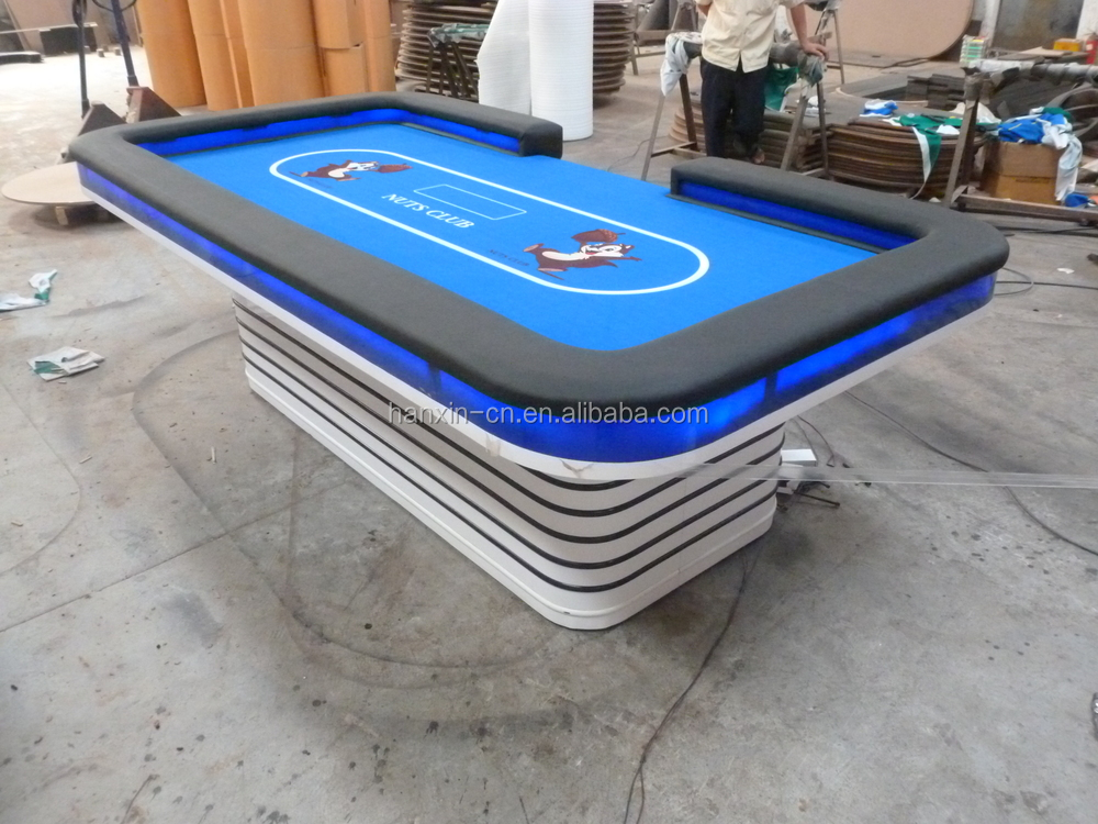Luxury professional texas poker table with led and vedio for 10 person poker table